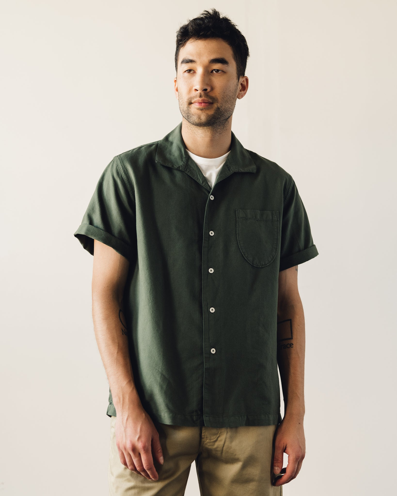 Universal Works Open Collar Shirt, Olive