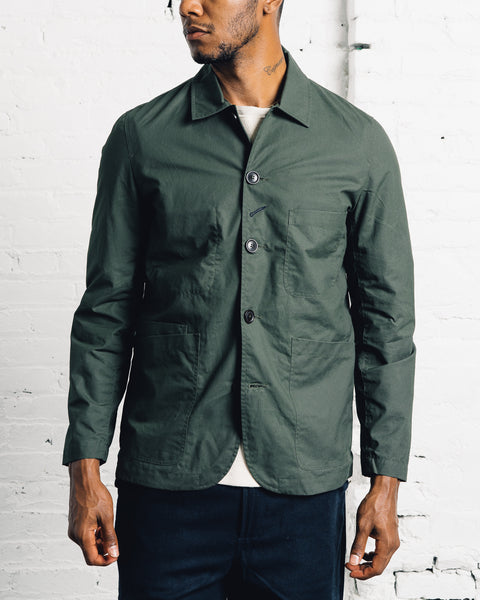 Universal Works Waxed Cotton Baker's Jacket, Olive