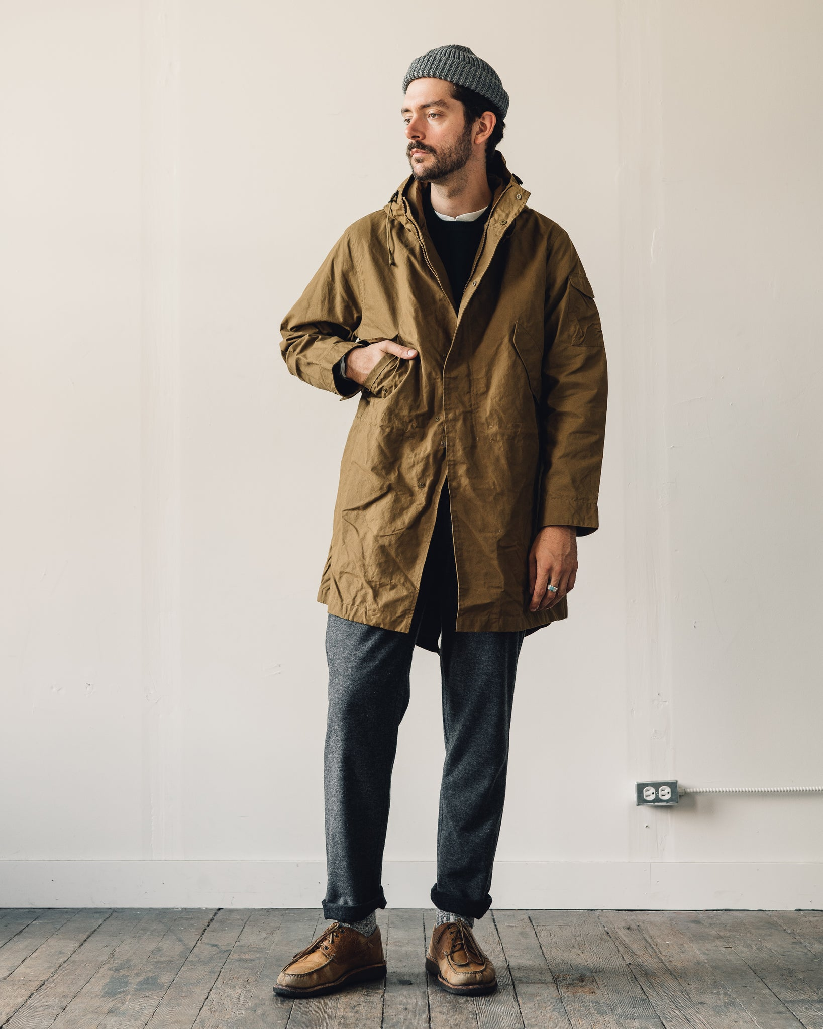 Universal Works Waxed Cotton Parka, Mustard