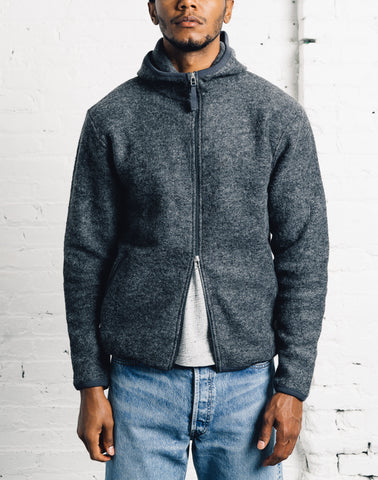 Universal Works Wool Surfer Hoodie, Charcoal