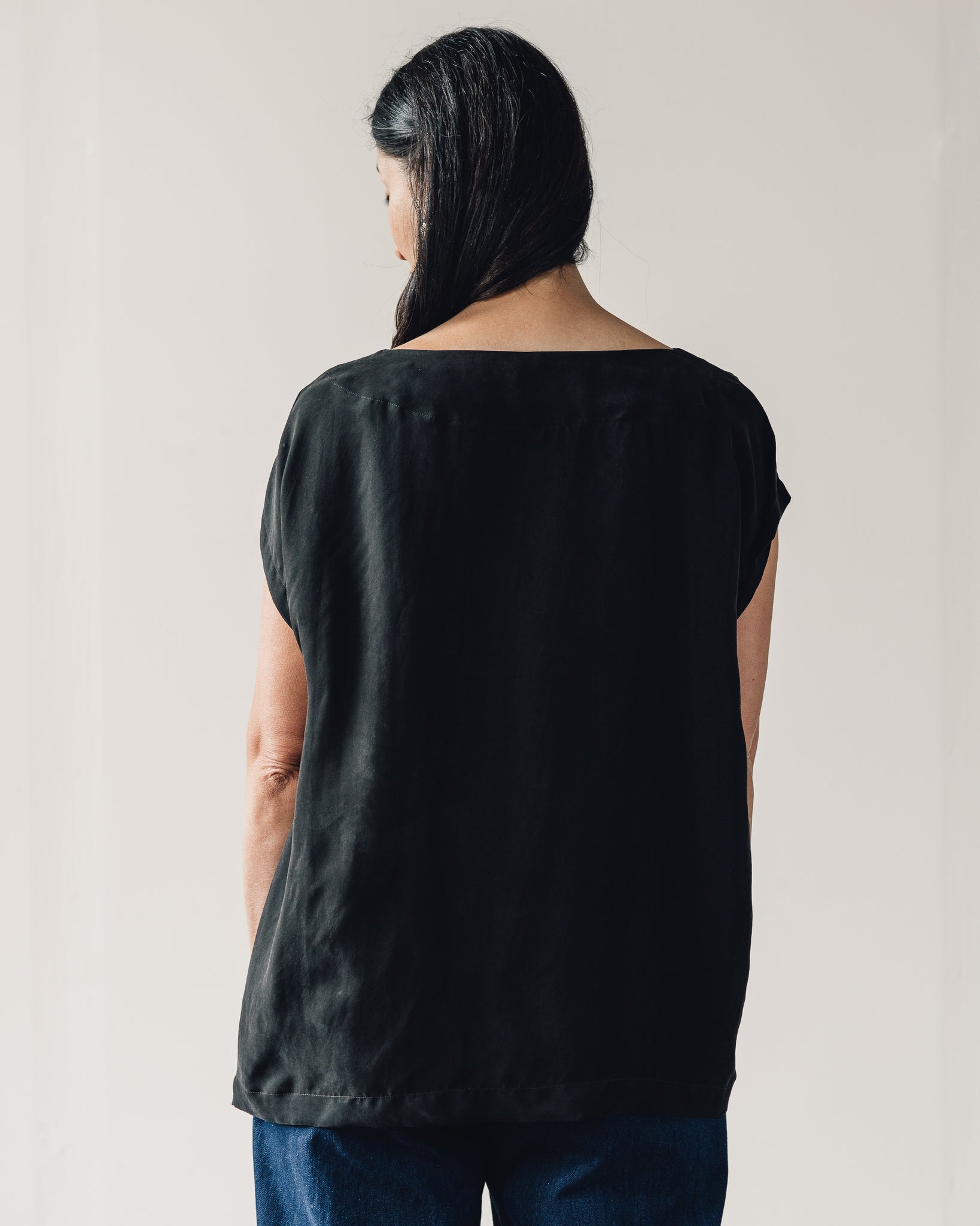 Uzi Oversized Tunic, Black Cupro