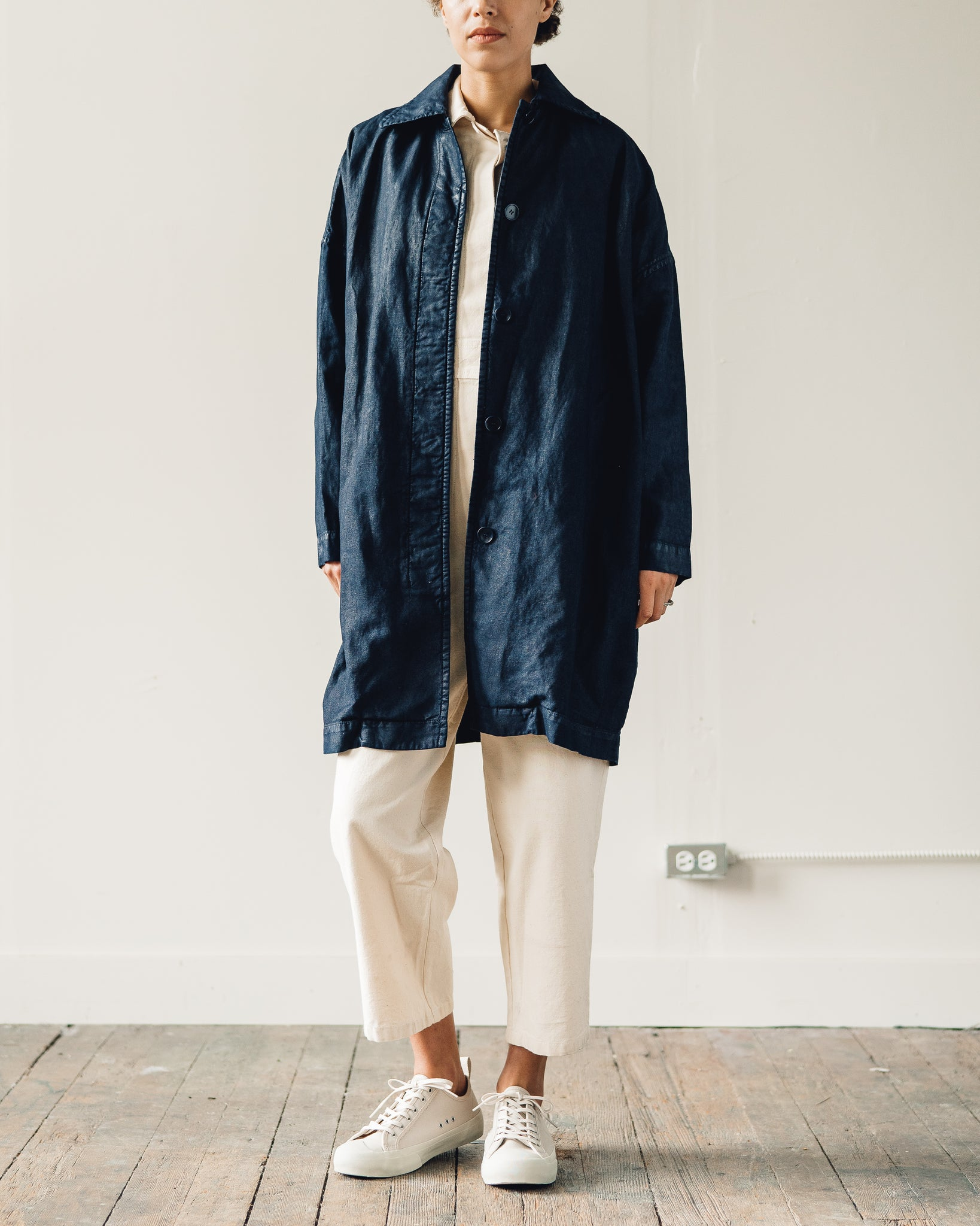You Must Create Cocoon Painted Coat, Navy