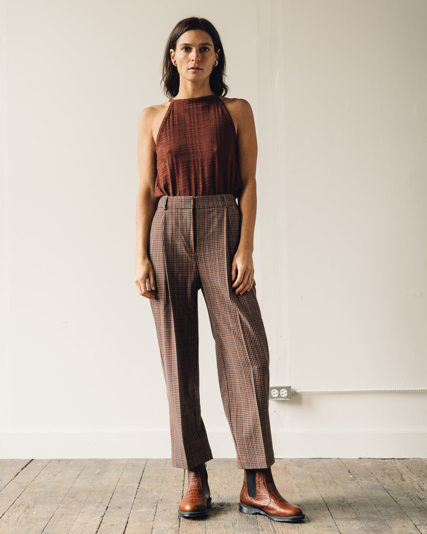 You Must Create Market Check Trousers, Black/Brown