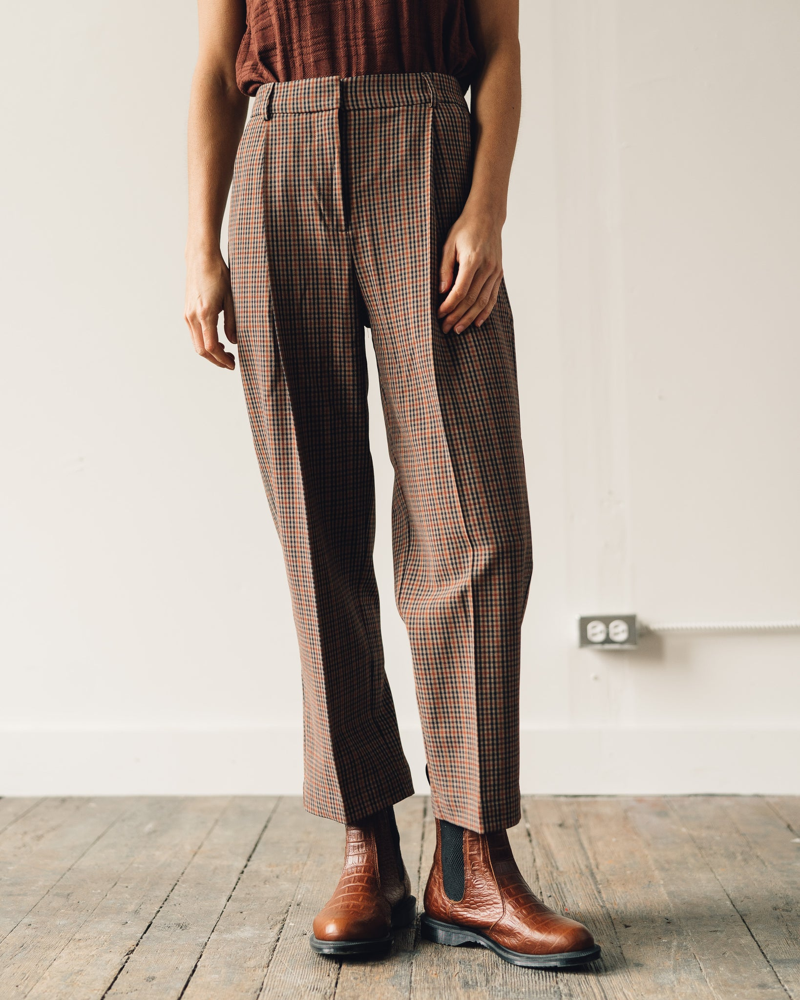 You Must Create Market Check Trousers, Brown Check
