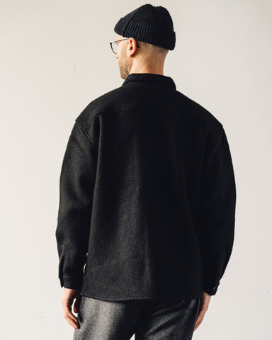 YMC Grizzly Wool Overshirt, Black