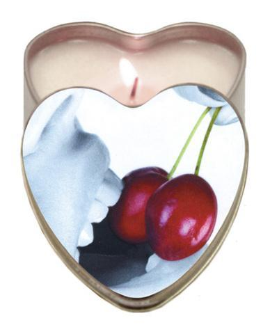 Cherry Edible Massage Oil Heart Candle - 4 oz.