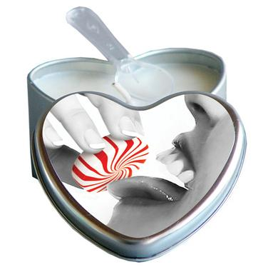 Peppermint Edible Massage Oil Heart Candle - 4 oz.