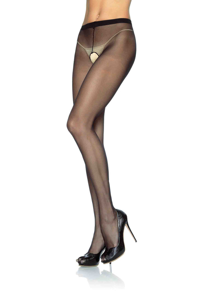 Sheer Crotchless Pantyhose - Queen Size - Black