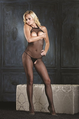 Halter Peek-a-Boo Fishnet Bodystocking - One Size - Black