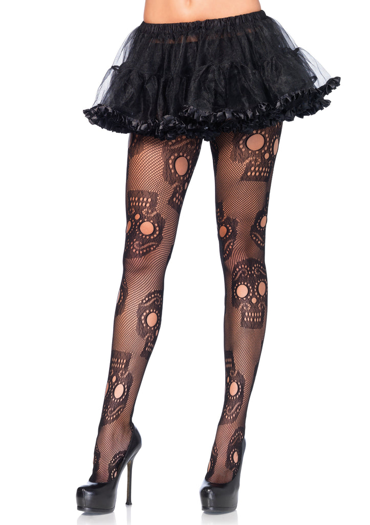 Sugar Skull Net Pantyhose - One Size