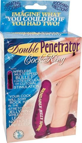 Double Penetrator Cockring - Purple