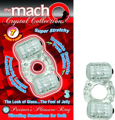 The Macho Crystal Collection Partners Pleasure Ring - Clear