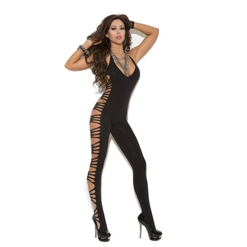 Deep v Body Stocking - One Size - Black