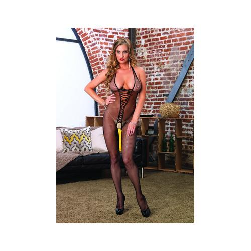 Bare Bottom Backless Fishnet Halter Bodystocking - One Size