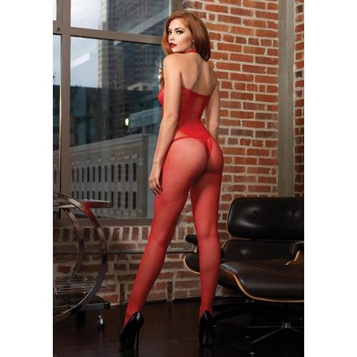 Fishnet Halter Bodystocking With Floral Lace Hourglass Detail - One Size - Red