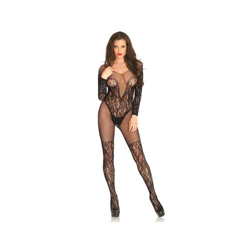 Vine Lace & Net Long Sleeved Bodystocking - One Size - Black