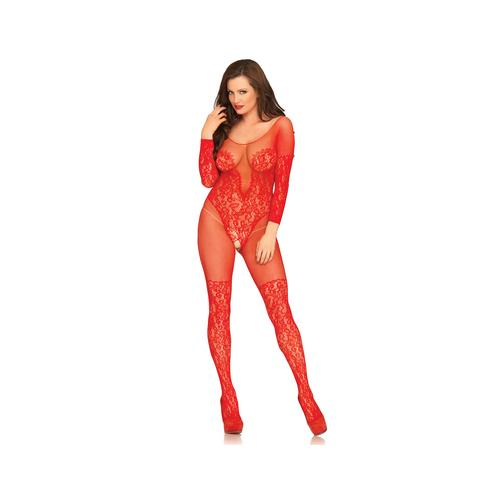 Vine Lace & Net Long Sleeved Bodystocking - One  Size - Red