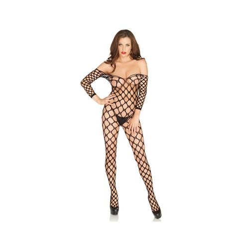 Ring Net Bodystocking - One Size - Black