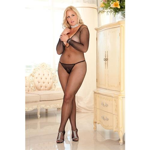 Deep v Long Sleeve Fishnet Bodystocking - Queen Size - Black