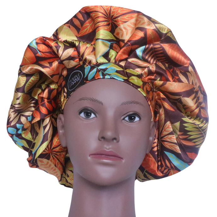 Elite Satin Bonnet - Tropical Earth | Satin Bonnets For Natural Hair