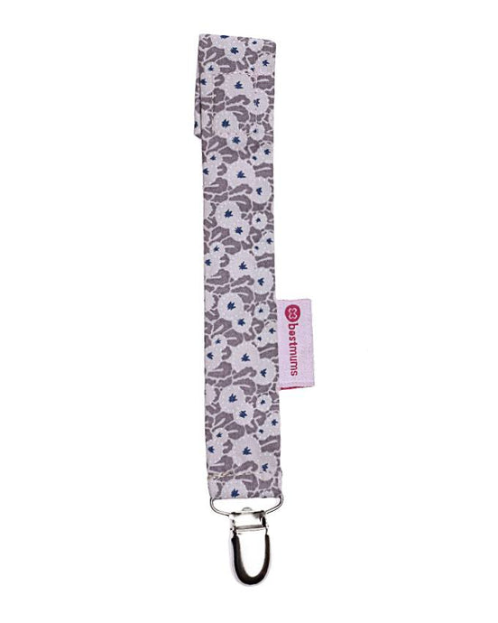 Beige Dot Flowers Pacifier Clip