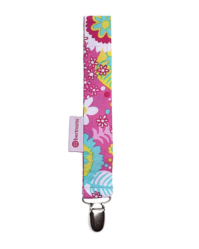 Pink Multiflowers Pacifier Clip