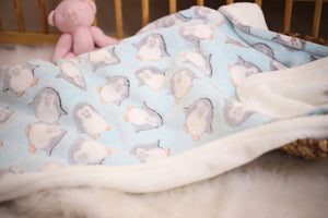 Baby Blue Penguin Baby Blanket