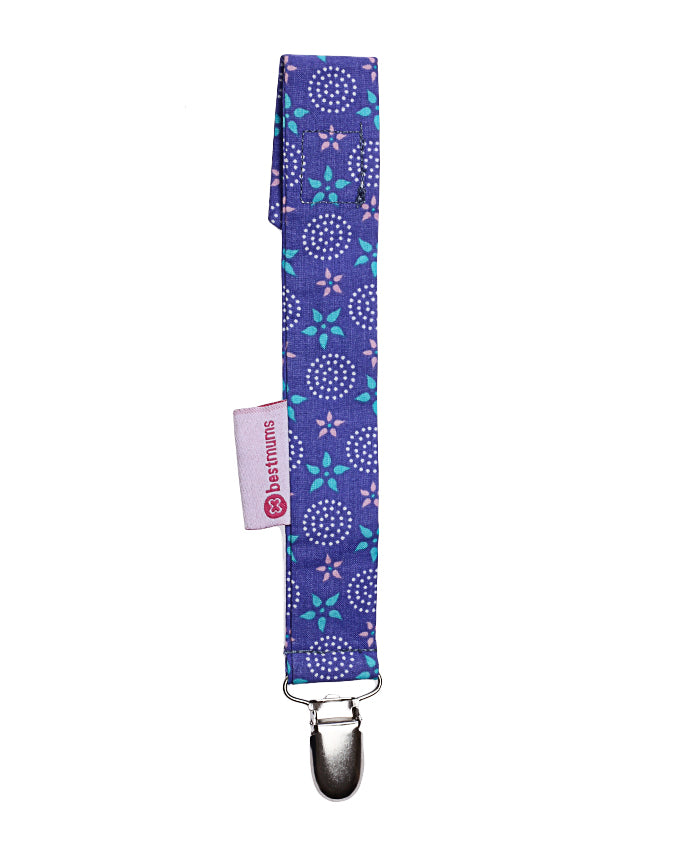 Purple Stars Pacifier Clip