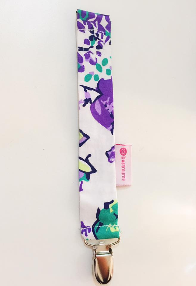 White Purple Pacifier Clip