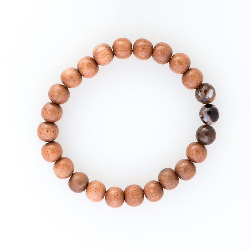Light Rosewood & Triple Agate Bracelet
