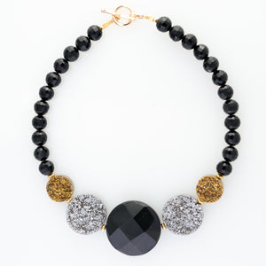 Onyx Statement Necklace with Gold & Silver Druzy