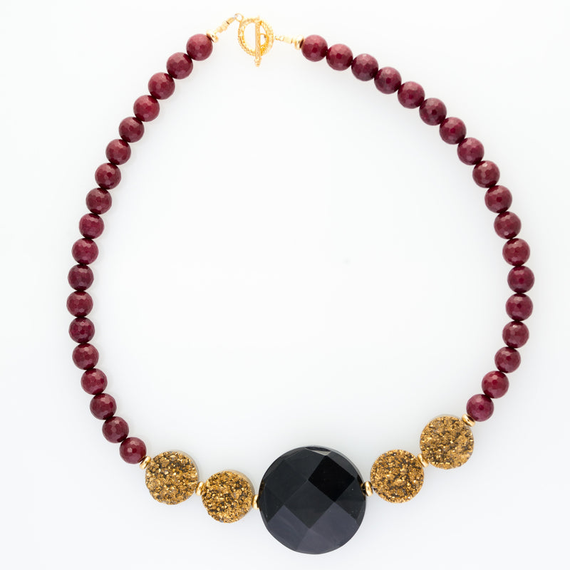 Garnet Statement Necklace with Double Gold Druzy and Onyx