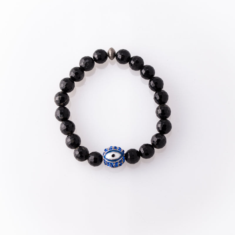 Agate Bracelet with Blue Evil Eye