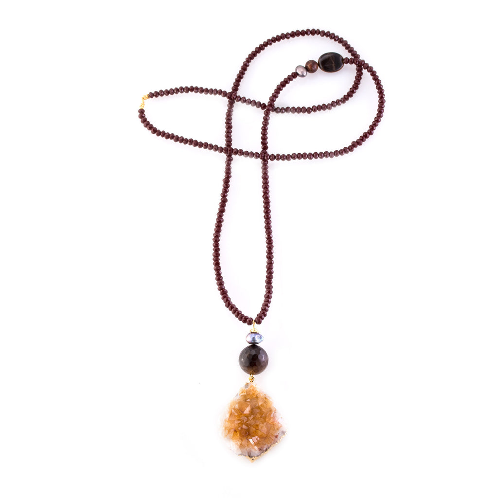 Citrine Double Pendant Necklace