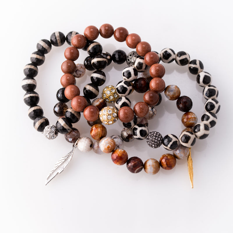 Animal Inspired Agate & Goldstone 5 Piece Charm Bracelet
