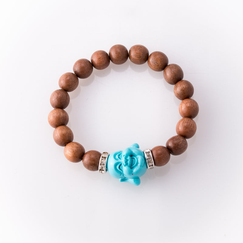 Light Rose Wood Bracelet Light Blue Buddha
