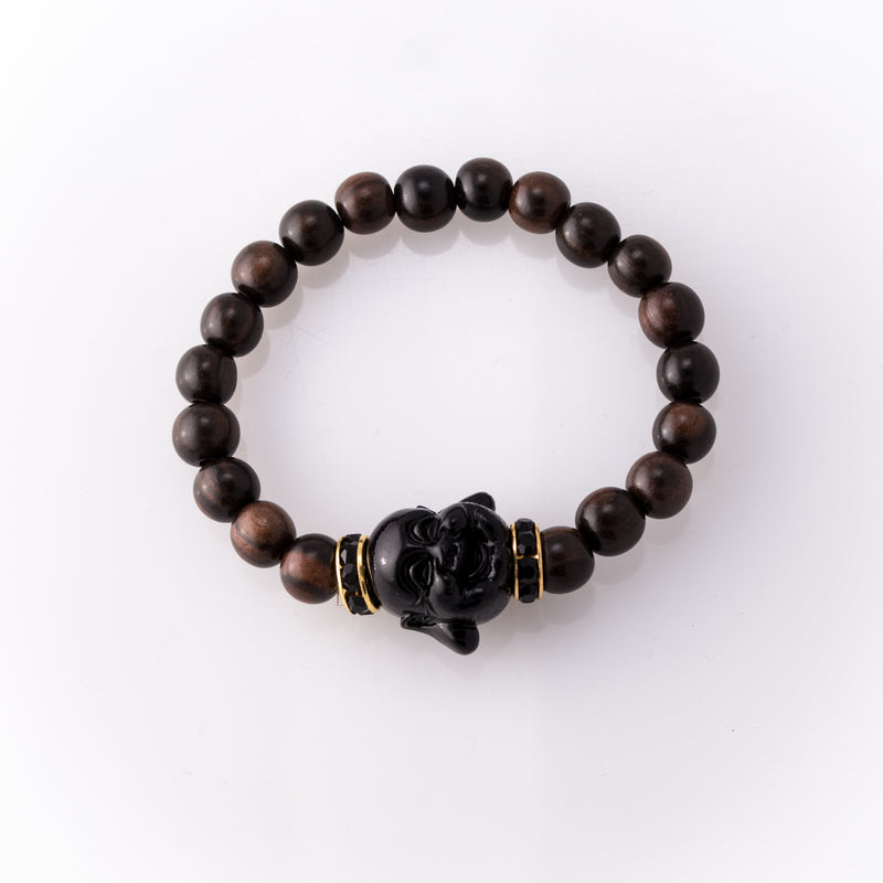 Dark Brown Rose Wood Bracelet with Black Buddha