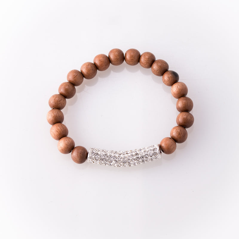 Light Brown Rose Wood Bracelet with Pave Bar