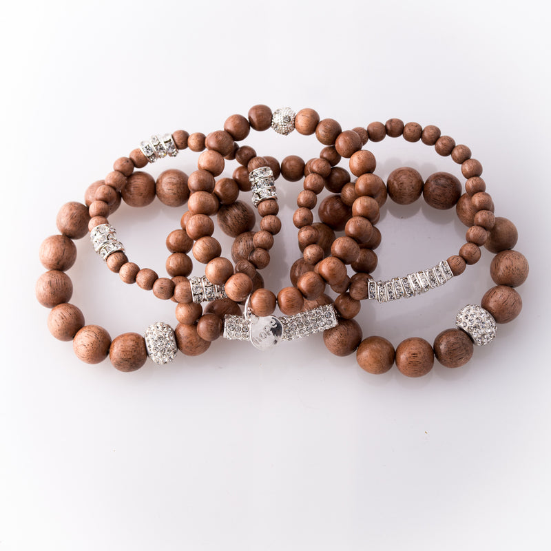 Light Rose Wood & Pave Rhinestone 6 Piece Bracelet Set