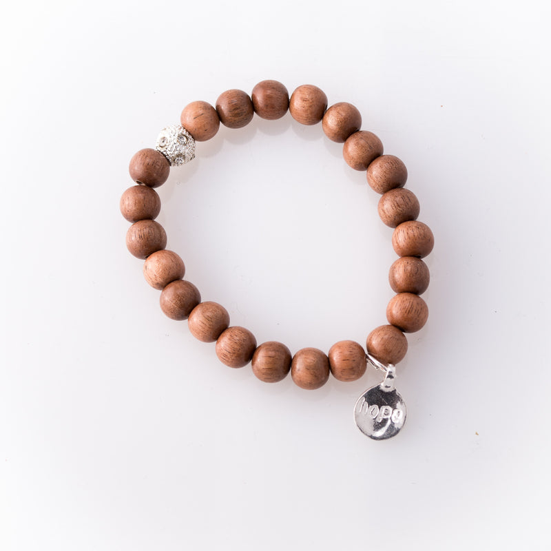 Light Rose Wood Bracelet with Hope Charm