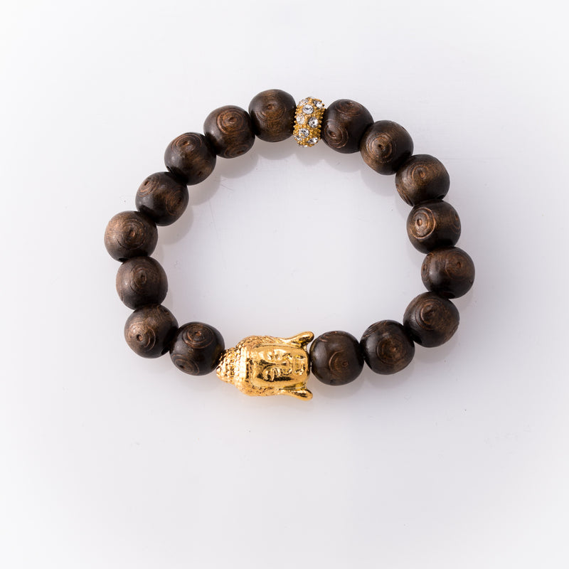 Dark Brown Rose Wood Bracelet with Gold Plated Buddha