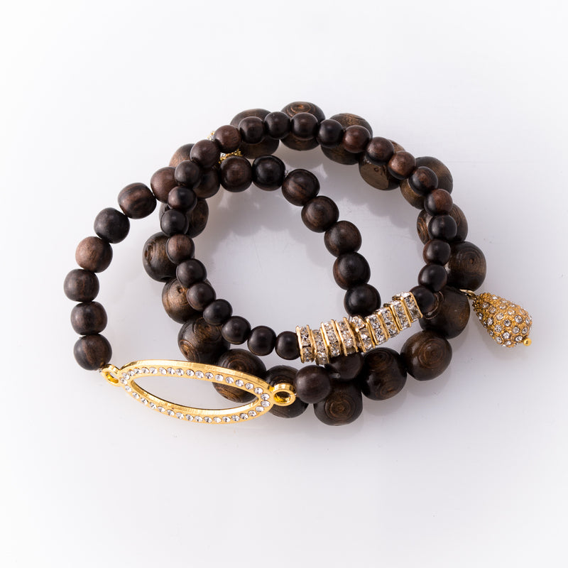 Dark Rose Wood & Gold Pave Rhinestone 3 Piece Bracelet Set