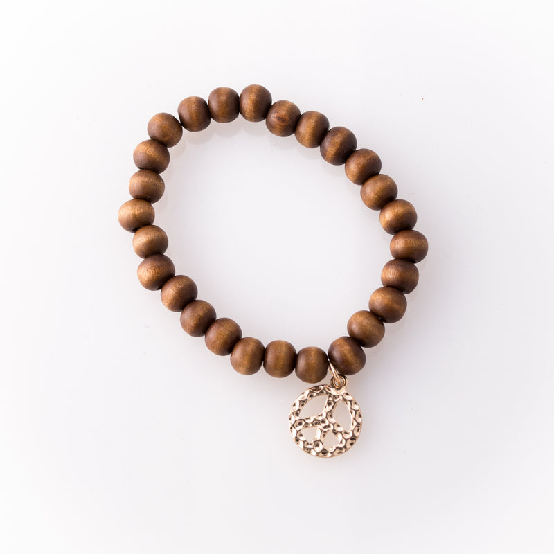 Light Rose Wood Bracelet with Peace Charm