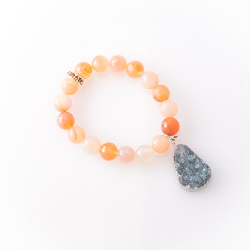 Citrine with Druzy Quartz Pendant Bracelet