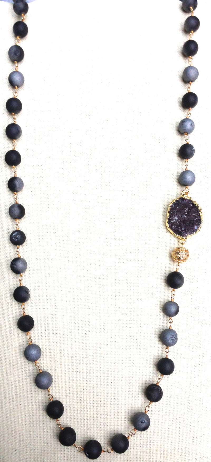Extra Long Druzy Beaded Necklace