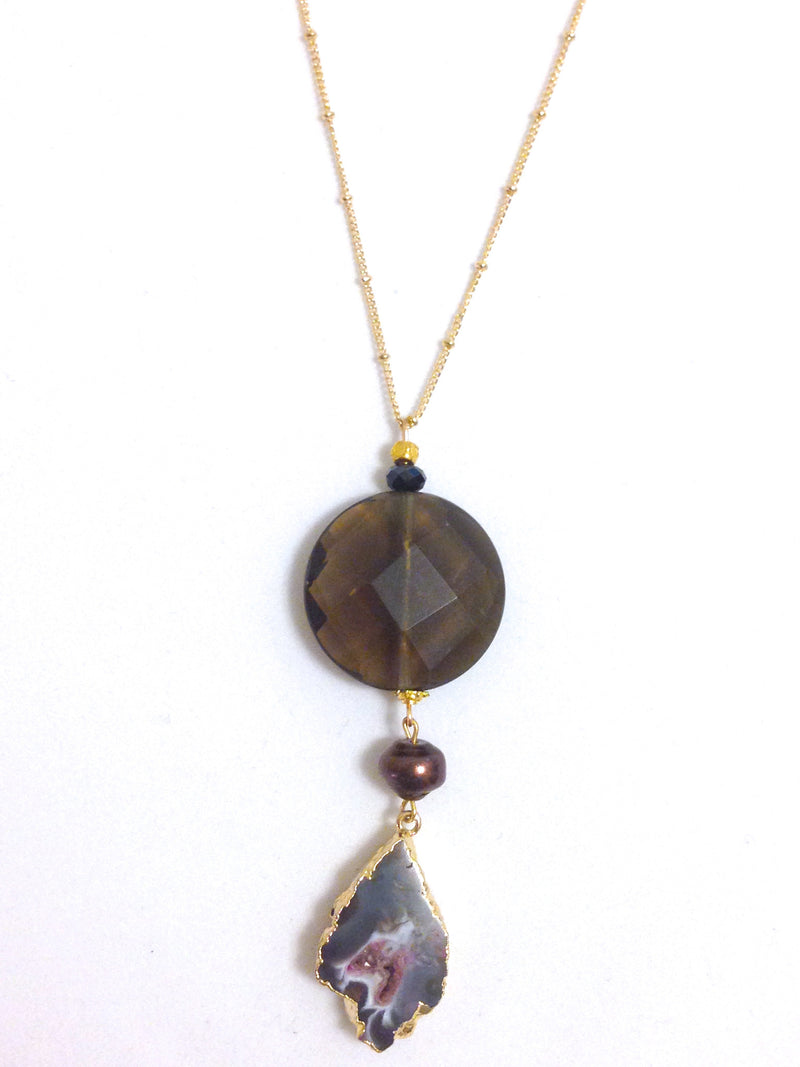Smoky Quartz & Druzy Pendant Necklace with Fresh Water Pearl & Onyx Detail