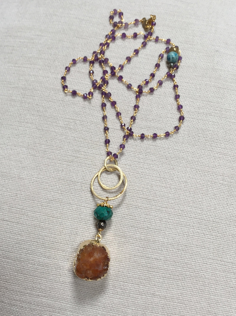 Citrine Pendant with Turquoise & Gold Connector