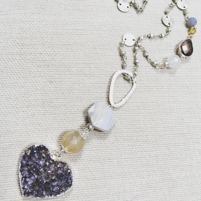 Amethyst Heart Druzy with Citrine & Moonstone