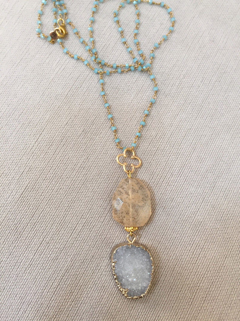 Druzy Pendant Necklace with Turquoise Rosary Chain