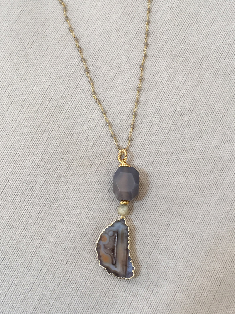 Gemstone Slice Pendant Necklace with Rosary Chain